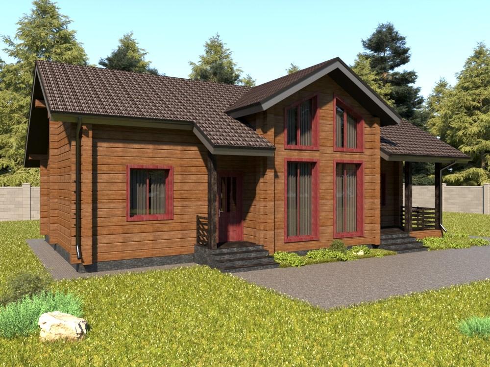 Одноэтажный дом из бруса с террасой