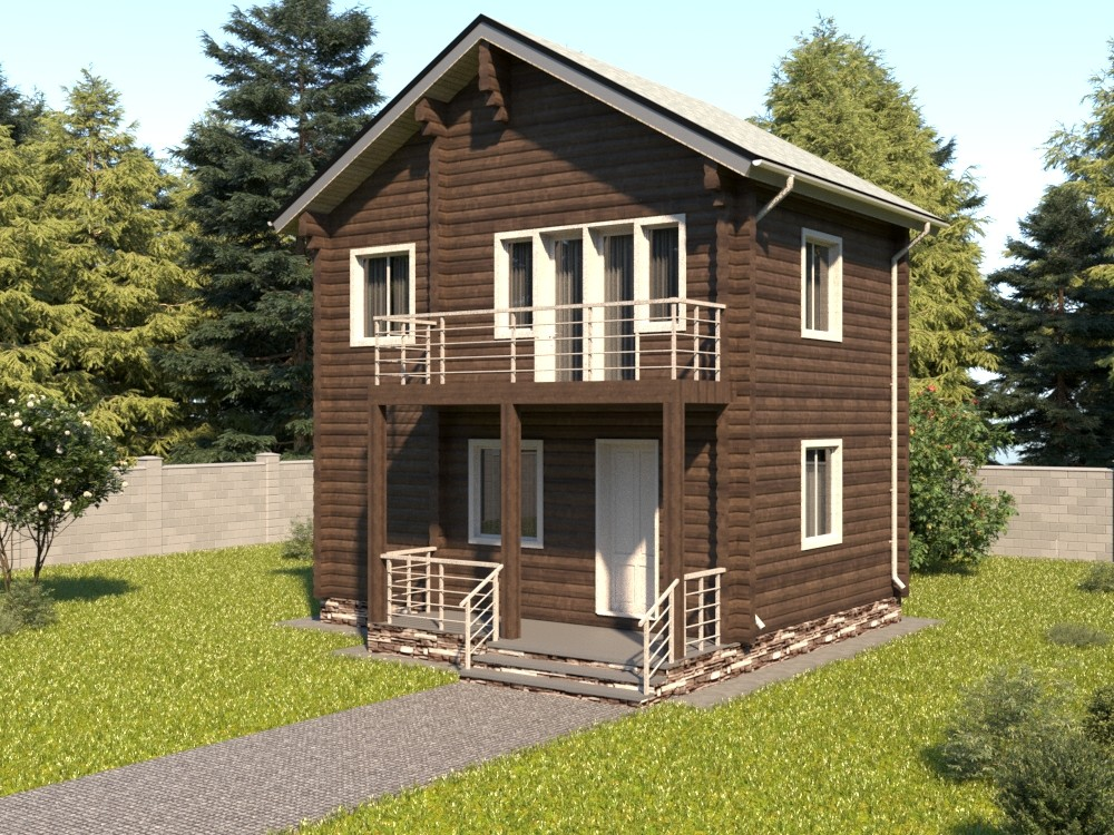 Двухэтажный жилой дома из бруса с балконом