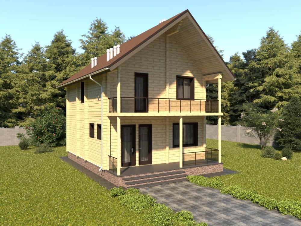 Дом из бруса с мансардой, террасой и балконом