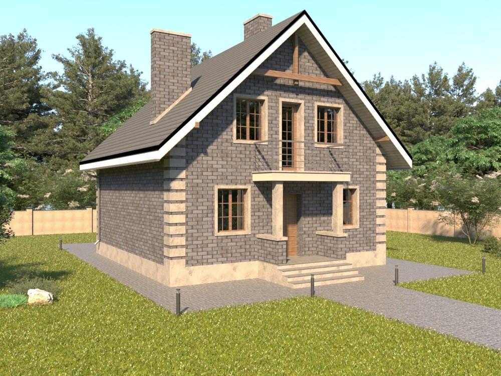Дом из кирпича с мансардой, террасой, эркером и балконами