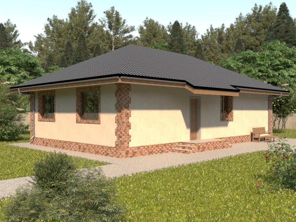Одноэтажный жилой дом из кирпича