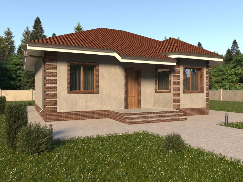 Кирпичный дом с террасой
