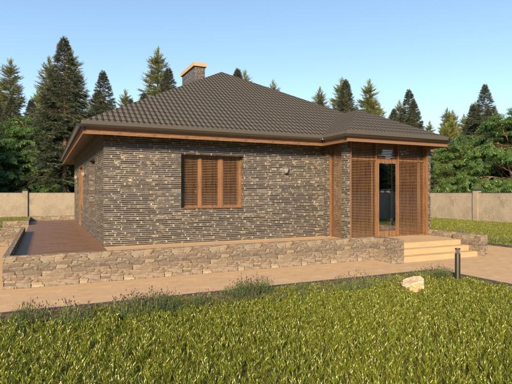 Одноэтажный кирпичный дом с подвалом и террасой