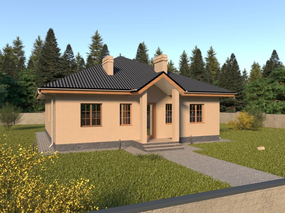 Одноэтажный кирпичный дом с террасой