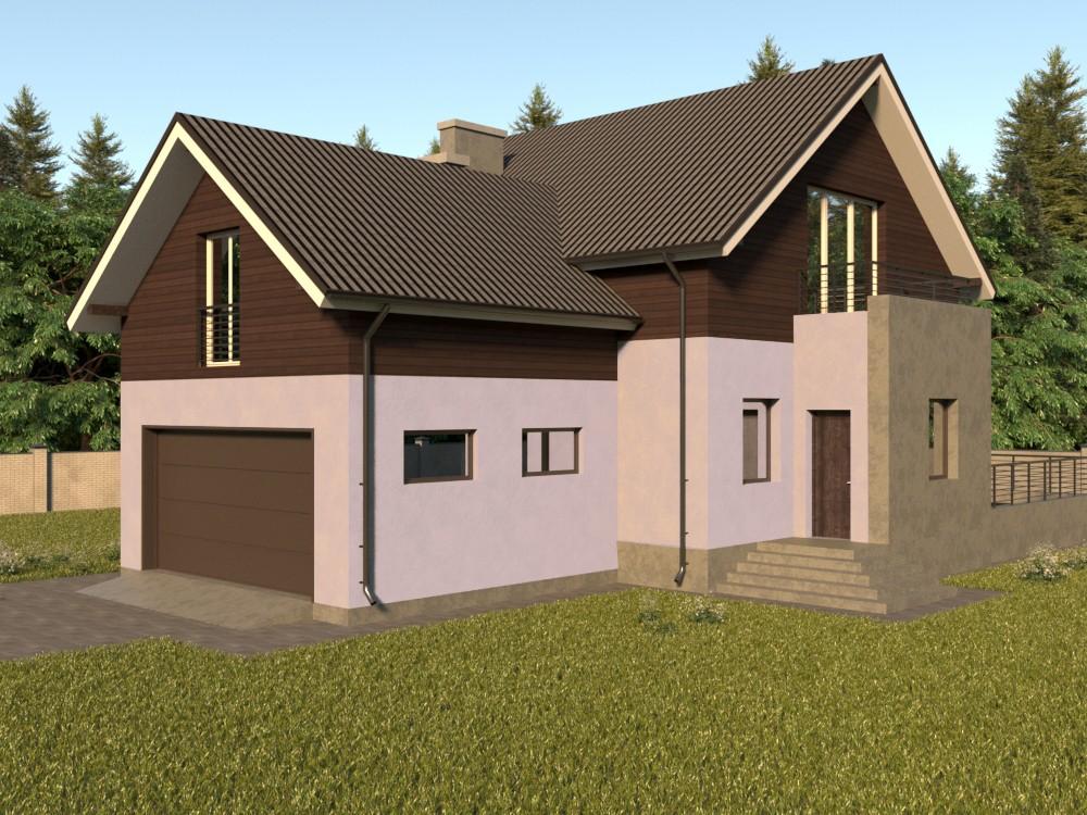 Дом из газобетона с мансардой, гаражом на две машины, террасой и балконом