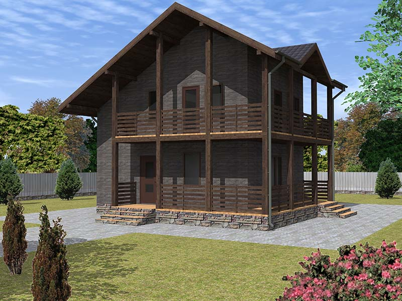 Каркасный двухэтажный дом
