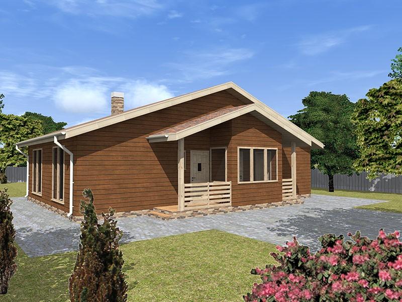 Одноэтажный брусовой дом