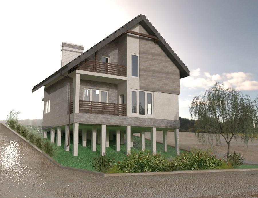 Дом с мансардой, террасой и гаражом из газобетона