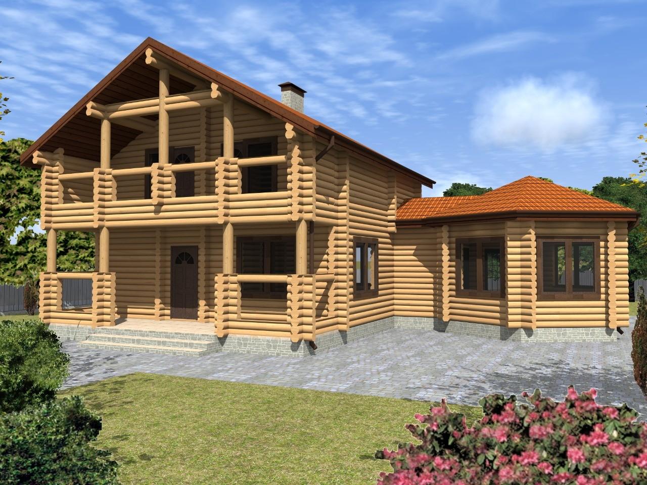 Проект просторного деревянного дома с баней