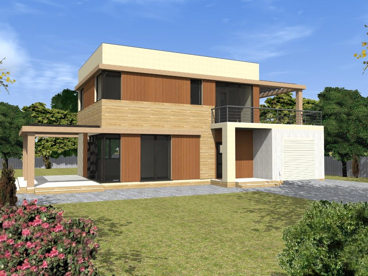 Проект современного двухэтажного дома из газобетона