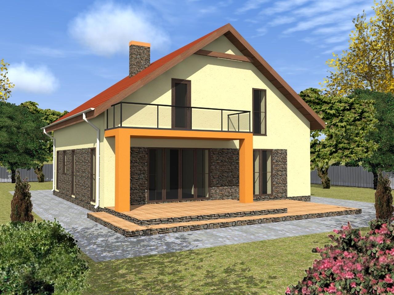 Проект небольшого дома с мансардой из газобетона