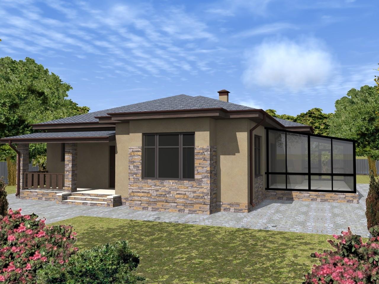 Проект одноэтажного дома из газобетона с уютной террасой