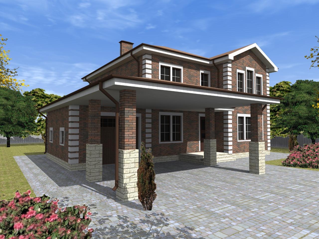Проект двухэтажного кирпичного дома с гаражом и навесом