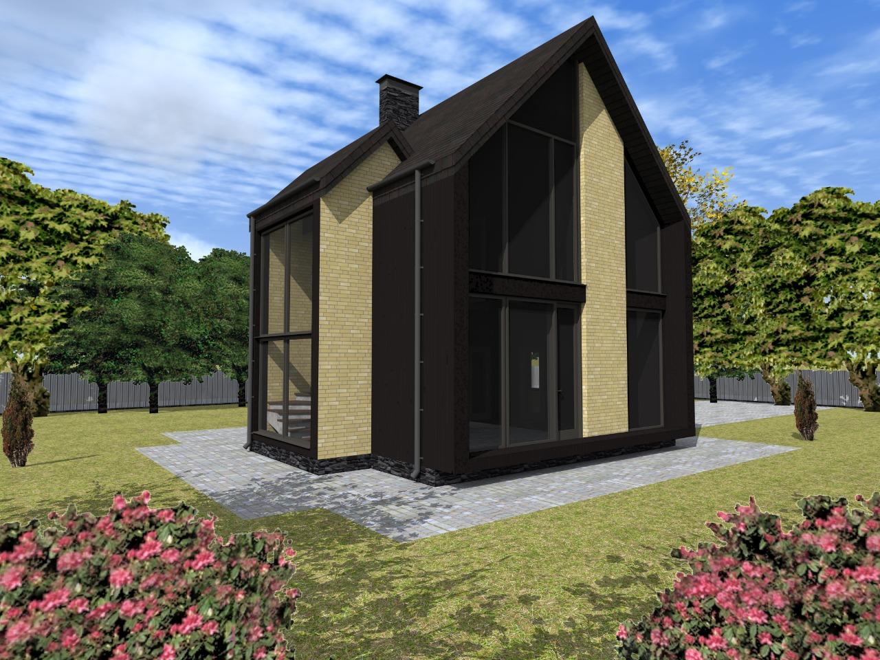 Проект оригинального каркасного дома