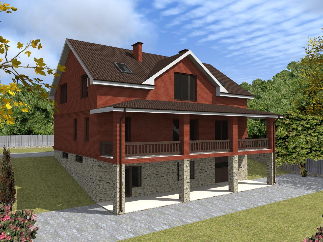 Проект дома из газобетона для участка с уклоном