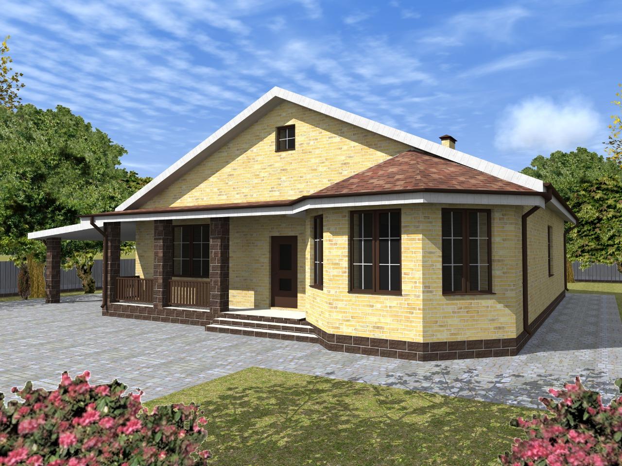 Проект одноэтажного дома из кирпича с эркером и гаражом