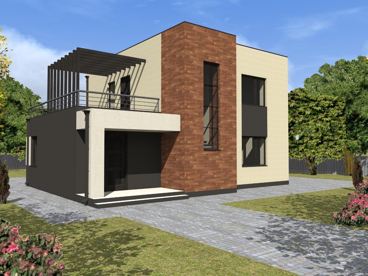 Проект двухэтажного дома из газобетона с плоской крышей