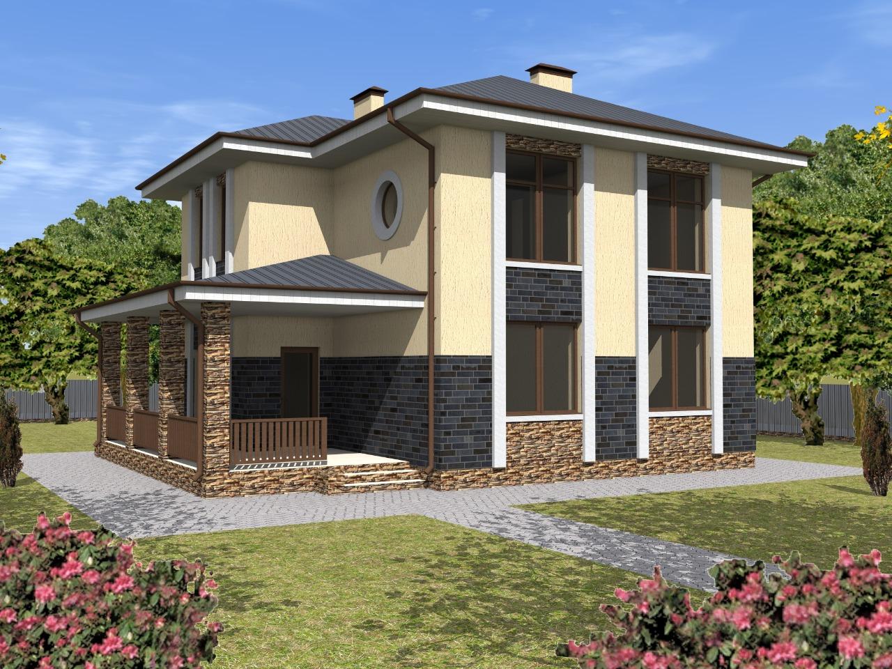 Проект двухэтажного дома 11 на 9 из кирпича