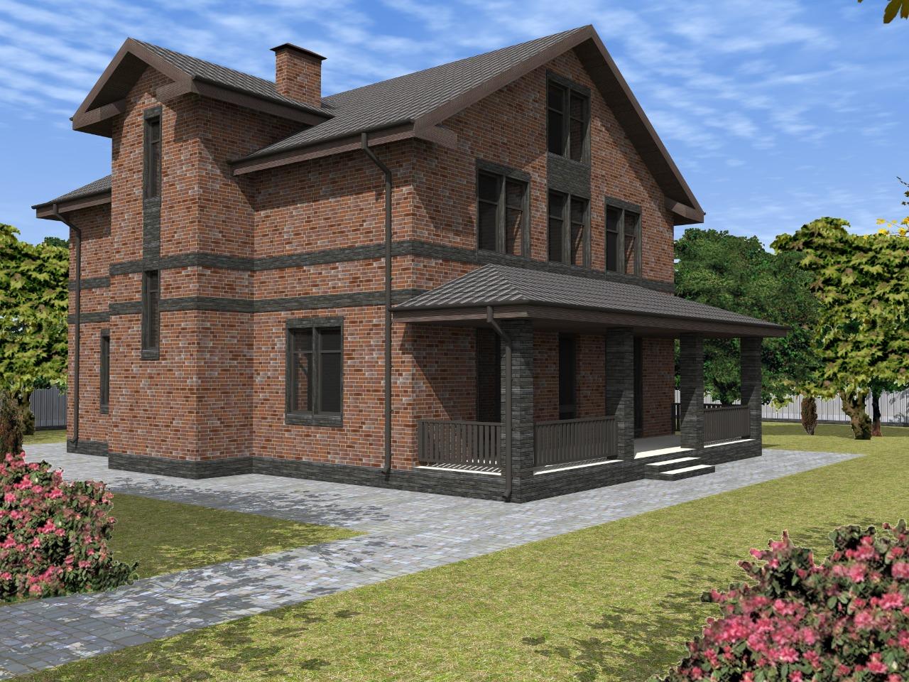 Проект трехэтажного кирпичного дома
