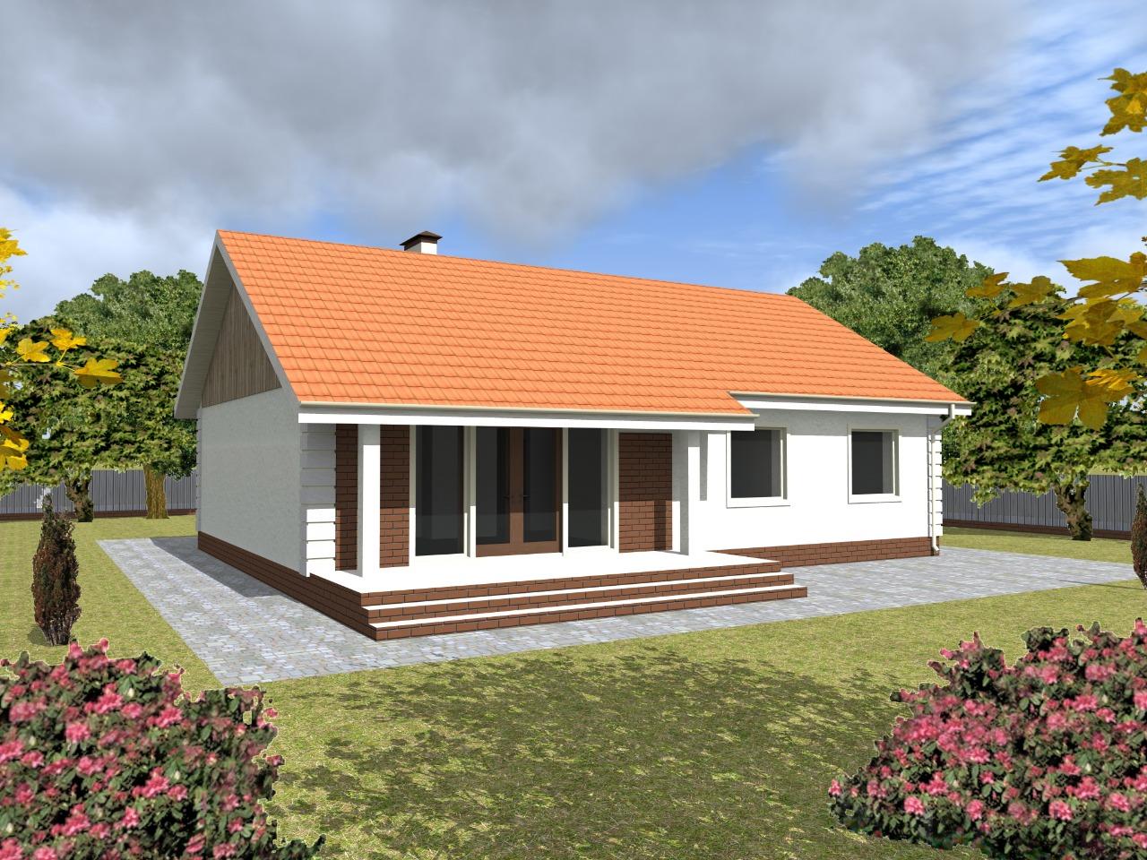 Проект одноэтажного дома из газобетона 120 м2