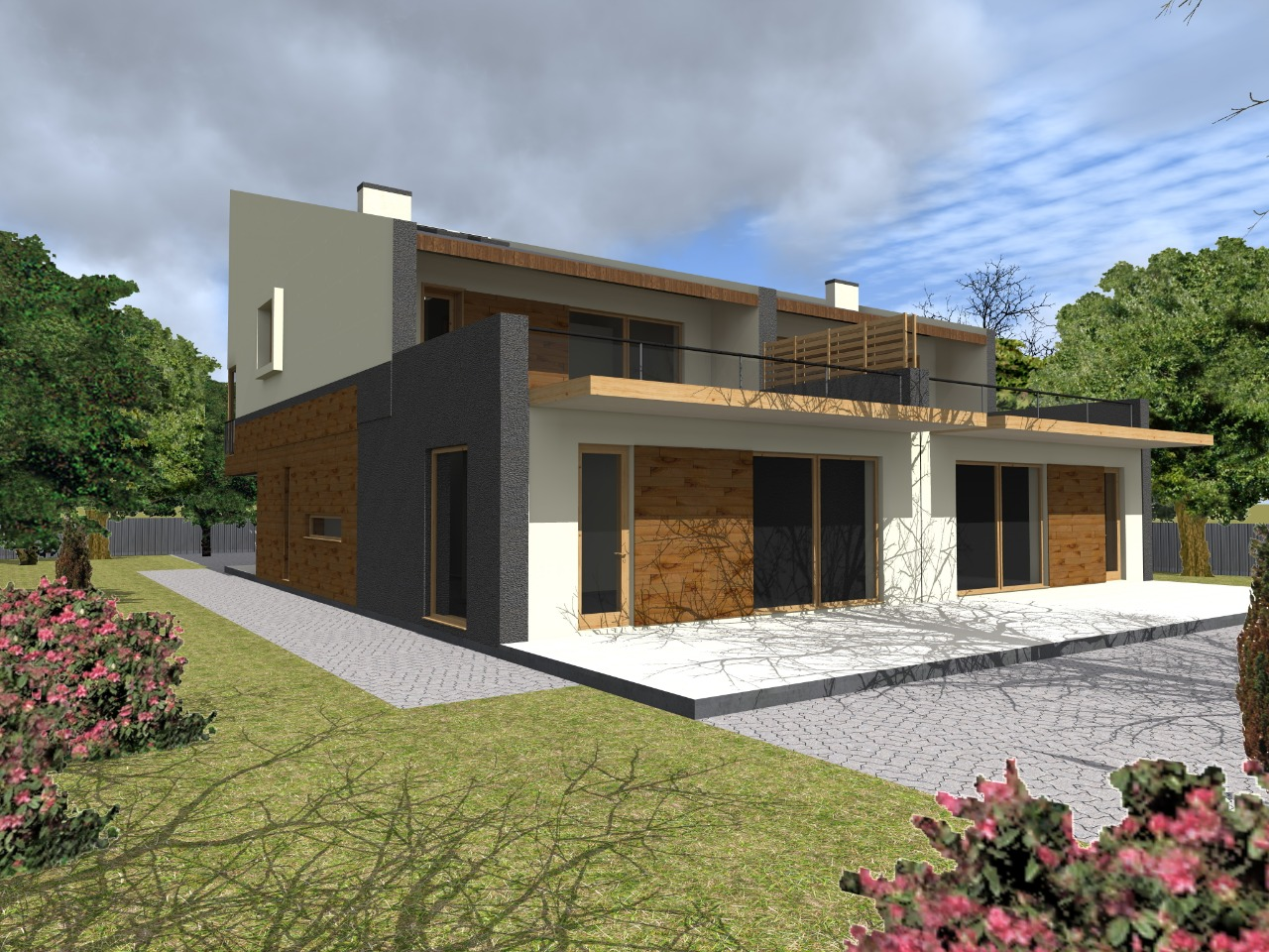 Проект современного дома на две семьи из газобетона
